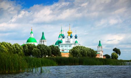 daytime view of Saint Jacob Savior monastery from Nero lake in Rostov, Russia Stok Fotoğraf