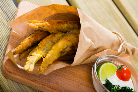 Batter-fried Sardines with classic cream-cheese sauce and herbs - Fish&Chips