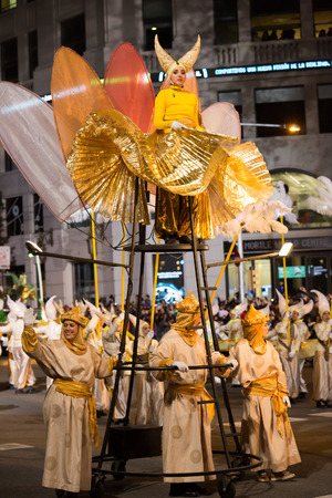 BARCELONA, SPAIN –  JANUARY 5, 2017: Procession of Three Kings around streets of Barcelona with music and artists. Cabalgata de los Reyes Magos. Barcelona, Spain