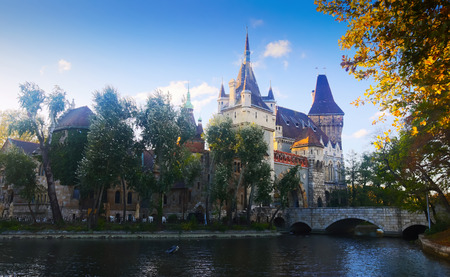 View of Vajdahunyad Castle, Gothic-Renaissance castle in city park of Budapest, Hungary
