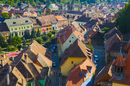 Illustration from Clock tower on streets of Sighisoara in Romania.