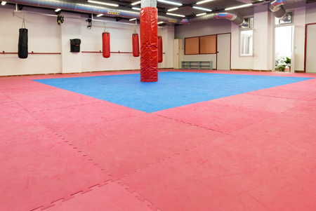 Photo of boxing space in sporty gym indoors. 版權商用圖片