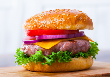 Image of tasty grilled hamburger with pork patty, tomato, cheese and lettuce Stock Photo