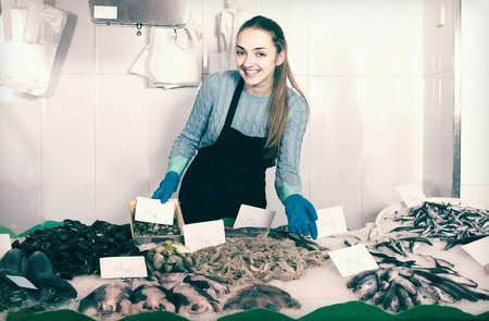 smiling american shopgirl with apron offering fresh fish in shop Banque d'images