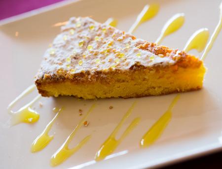 Portion of original Spanish almond cake Torta de Santiago