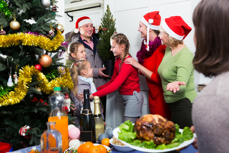 Family is meeting together for celebration New Year at home Stock Photo