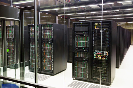 View of working server room in modern data center