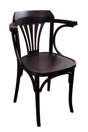 Black wooden dining chair isolated on white background Archivio Fotografico