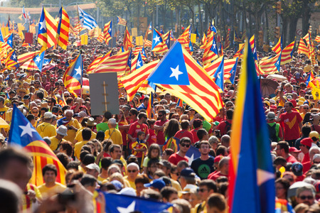 BARCELONA, SPAIN - SEPTEMBER 11, 2014: The National Day of Catalonia. Barcelona, Catalonia