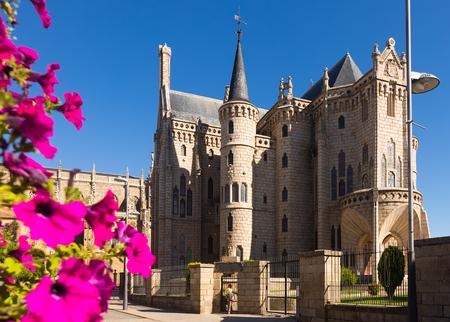 ASTORGA, SPAIN - JUNE 28, 2015: Episcopal Palace of Astorga.  Castile and Leon, Spain Editorial