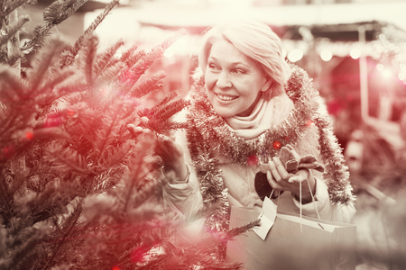Mature female buying decoration and small tree at Christmas Fair outside