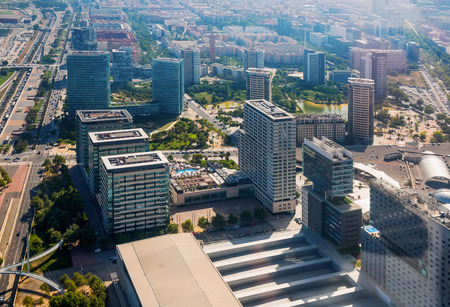 View above of new area with modern buildings in Barcelona