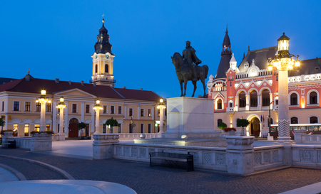 Unirii Square is famous tourist attraction in Oradea, Romania 免版税图像