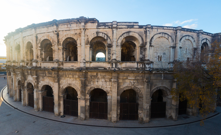 Image of ancient Roman amphitheater arena in Nimes, France