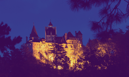 Medieval Bran Castle commonly known as Dracula Castle at night, Romania Editöryel