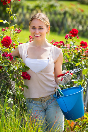 portrait of smiling  young  woman caring blossoming bush roses in yard