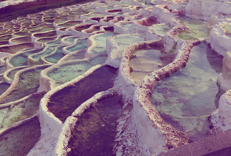 Mineral terraces with curative water in Egerszalok thermal spa, Hungary Banco de Imagens