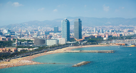 aerial view of Barcelona from Mediterranean sea Zdjęcie Seryjne