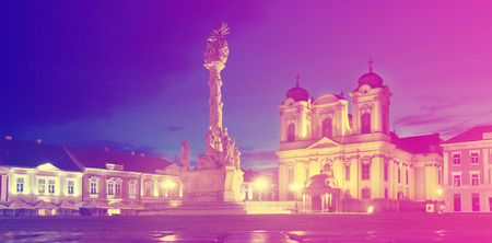 Illuminated Unirii Square with Roman Catholic Dome at dusk, Romania 스톡 콘텐츠 - 111506589