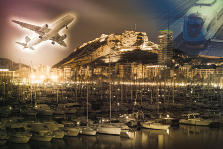 Airplane and train on colored background with city and harbor
