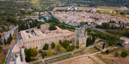 Aerial view  of Castle of Abbey Sainte-Marie dOrbieu in Lagrasse,  France
