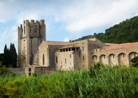 Image of Castle of Abbey Sainte-Marie dOrbieu, part of history of Lagrasse, France 報道画像