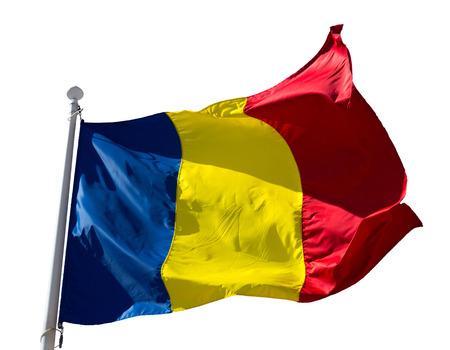 Romanian flag on flagpole waving isolated on white background Stock Photo