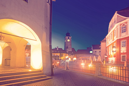 Image of Tower Sfatului is architecture landmark of Sibiu in Romania.