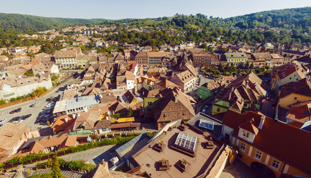 Image of view from Clock tower in Sighisoara in Romania.