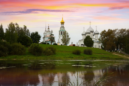 Summer view from Volga river of Kremlin (Cathedral) Square, Vologda Banco de Imagens