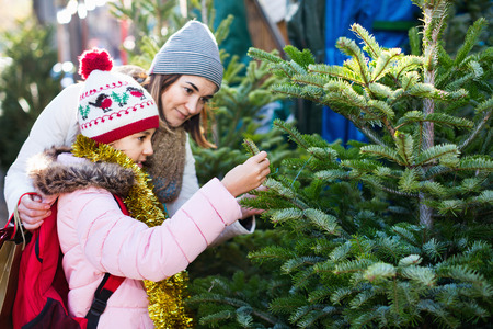 Satisfied pleasant woman with daughter buying Christmas tree in market. Focus on woman