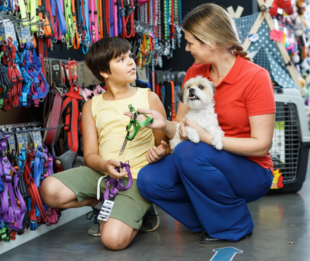 Preteen boy with smiling mother and little dog buying pet supplies in shop