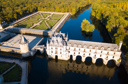 Aerial view of Chateau de Chenonceau in Loire valley, France