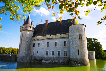 View of famous medieval fortified castle of Sully-sur-Loire, Loire valley, France