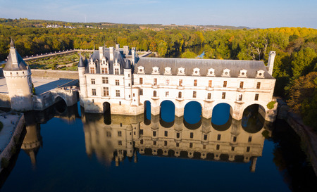 Aerial view of picturesque autumn landscape with famous medieval Chateau de Chenonceau in Loire Valley, France Stock Photo