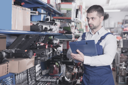 Portrait of seller male who is making rediscount in the tools store