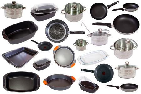 Image of set of cooking pan  isolated on white background