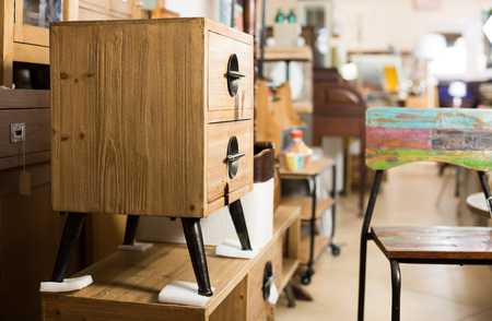 Wide selection of vintage furniture and home design objects in shop