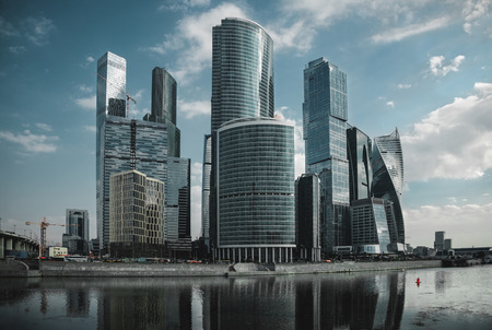 modern high skyscrapers of business center moscow city on sunny day