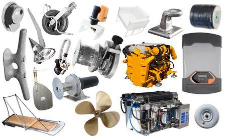 Collage of modern yacht equipment isolated on white background