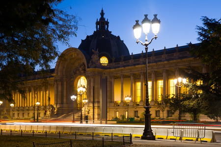 Night view of Petit Palais (Small Palace) – art museum in Paris 報道画像