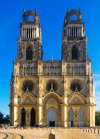 Picturesque Gothic architecture of Cathedral of Holy Cross of Orleans, France