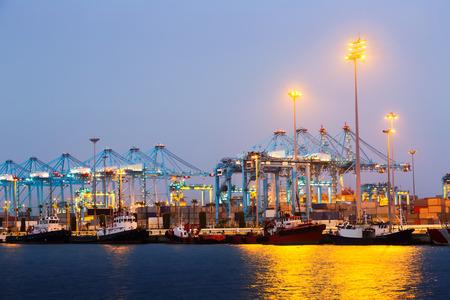 Evening view of  Port with cranes. Algeciras, Spain