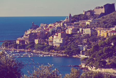 Panoramic view of colorful Portovenere with Doria Castle on Ligurian coast of Italy