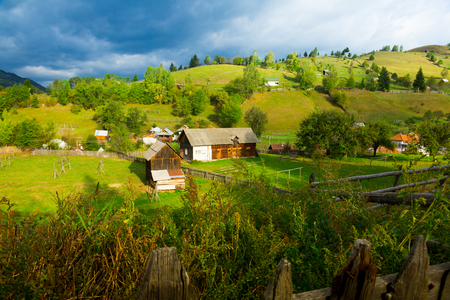 View of picturesque village Sadova in Suceava county, Romania