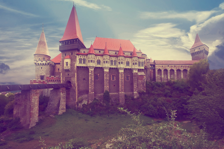 Medieval building of Corvin Castle in south of Transylvania, Hunedoara, Romania 版權商用圖片