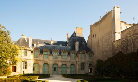 View of courtyard garden of Hotel de Sully, Paris