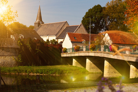 Traditional village of France in sunny autumn day Фото со стока