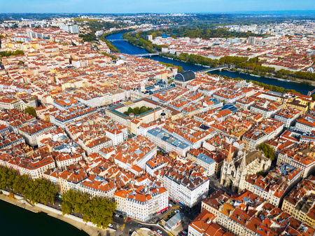 Aerial view of residential areas of third largest French city of Lyon on banks of Rhone and Saone rivers Фото со стока