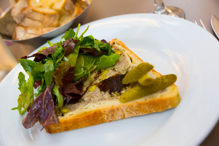 Delicious Pate en croute maison - traditional French dish of meat stuffing with pistachio baked in dough served with greens and gherkins